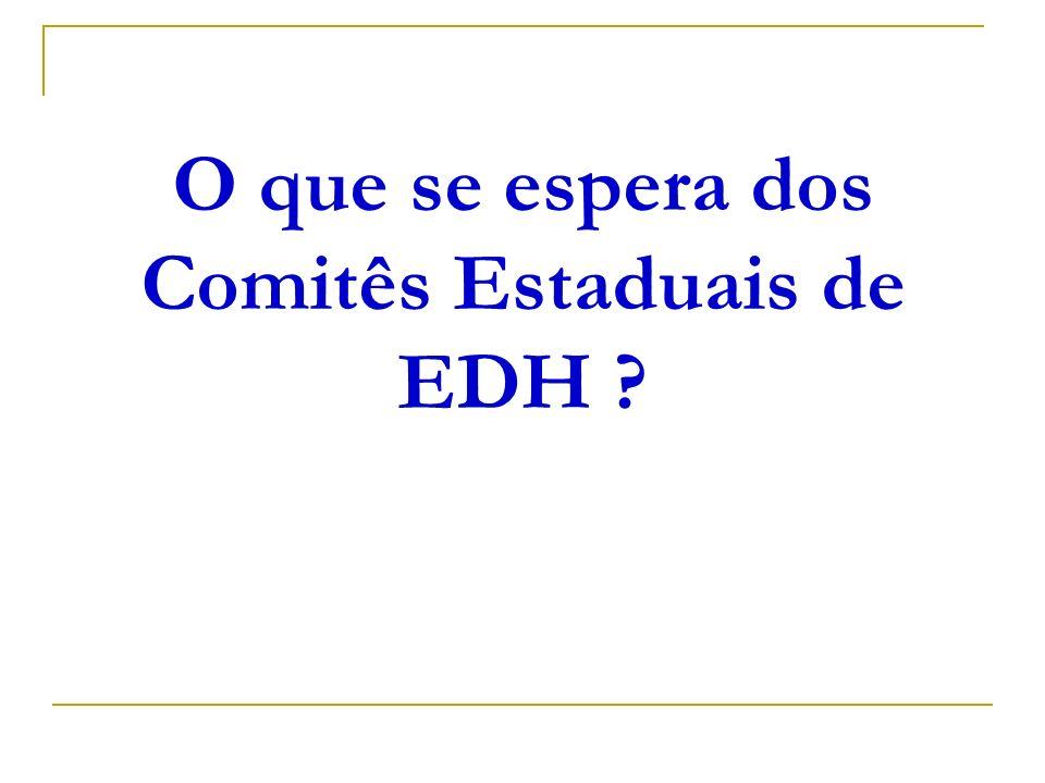 O que se espera dos Comitês Estaduais de EDH ?