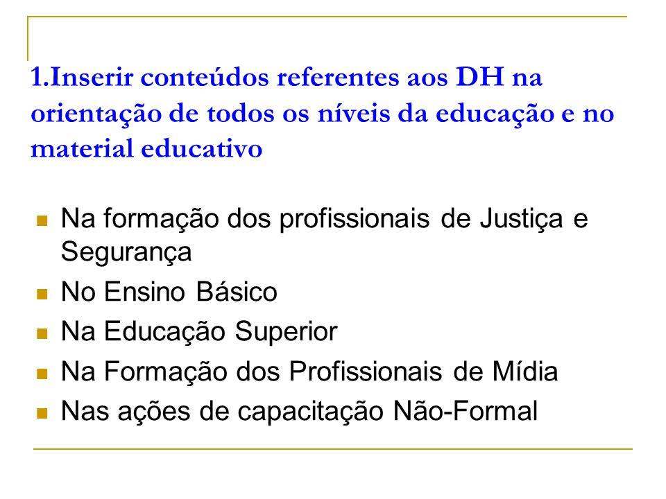 1.Inserir conteúdos referentes aos DH na orientação de todos os níveis da educação e no material educativo Na formação dos profissionais de Justiça e Segurança No Ensino Básico Na Educação Superior Na Formação dos Profissionais de Mídia Nas ações de capacitação Não-Formal