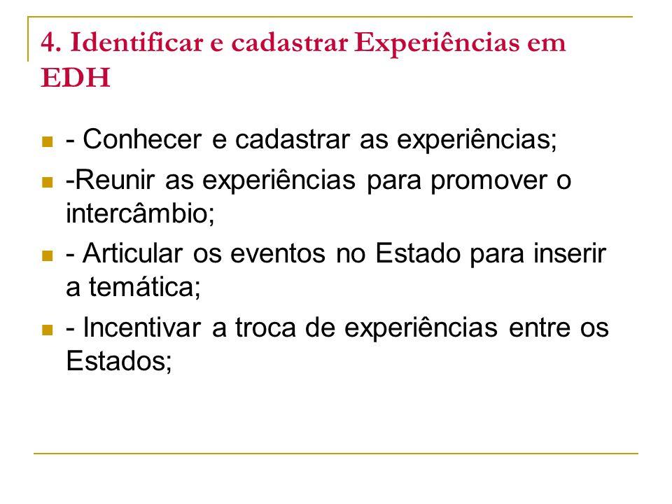 4. Identificar e cadastrar Experiências em EDH - Conhecer e cadastrar as experiências; -Reunir as experiências para promover o intercâmbio; - Articula