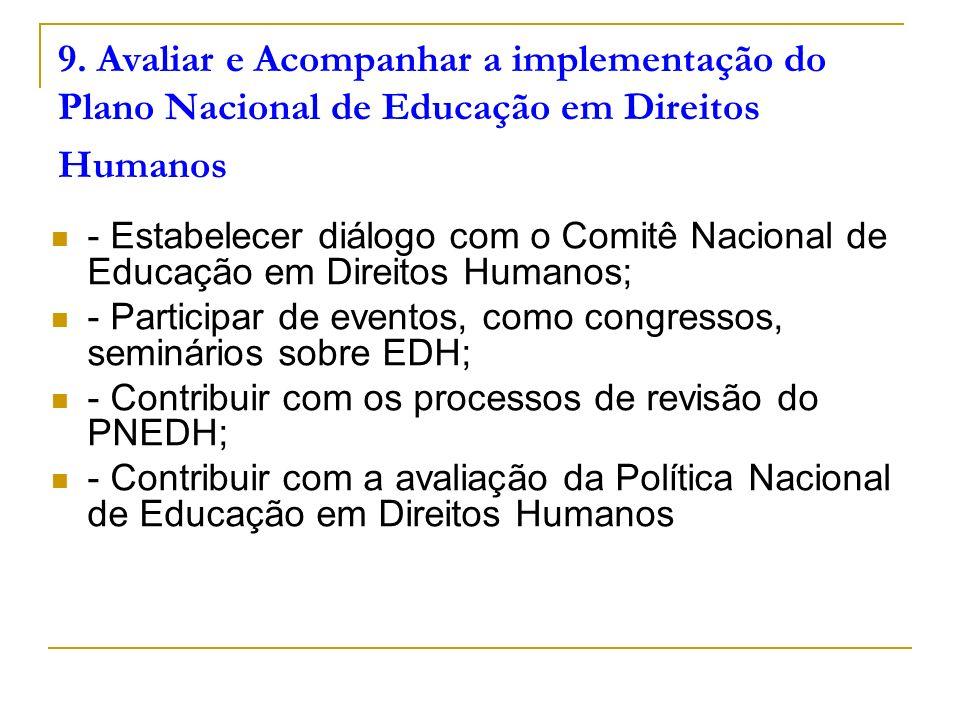 9. Avaliar e Acompanhar a implementação do Plano Nacional de Educação em Direitos Humanos - Estabelecer diálogo com o Comitê Nacional de Educação em D