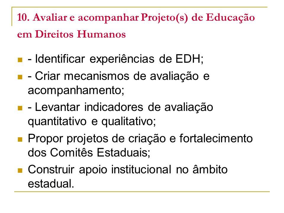 10. Avaliar e acompanhar Projeto(s) de Educação em Direitos Humanos - Identificar experiências de EDH; - Criar mecanismos de avaliação e acompanhament