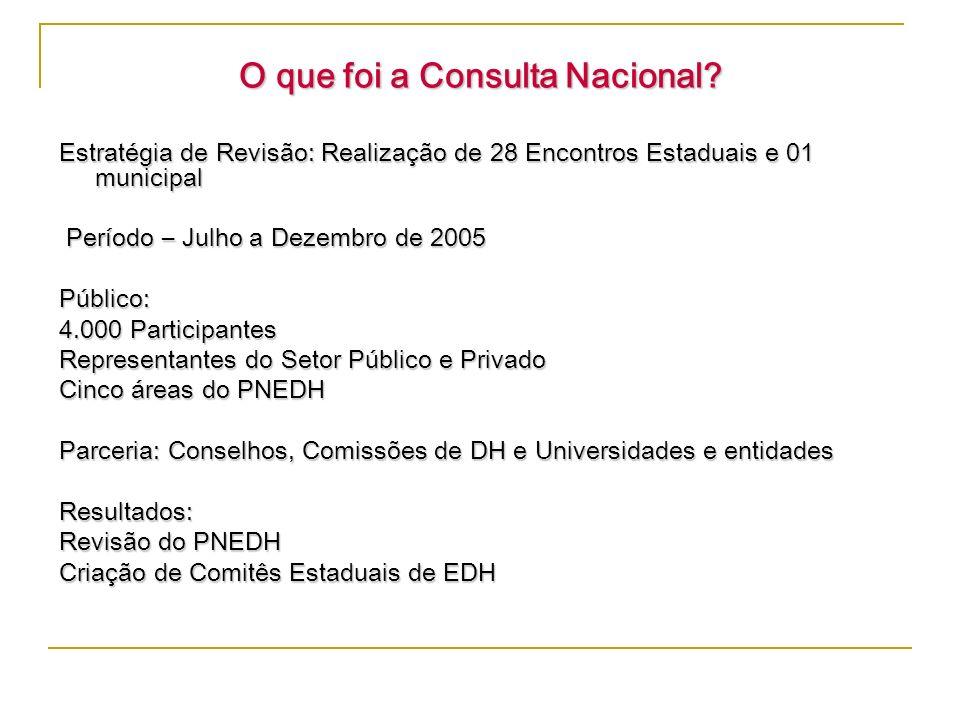 O que foi a Consulta Nacional? Estratégia de Revisão: Realização de 28 Encontros Estaduais e 01 municipal Período – Julho a Dezembro de 2005 Período –