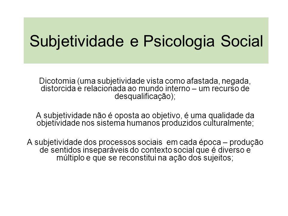 Subjetividade e Psicologia Social Dicotomia (uma subjetividade vista como afastada, negada, distorcida e relacionada ao mundo interno – um recurso de