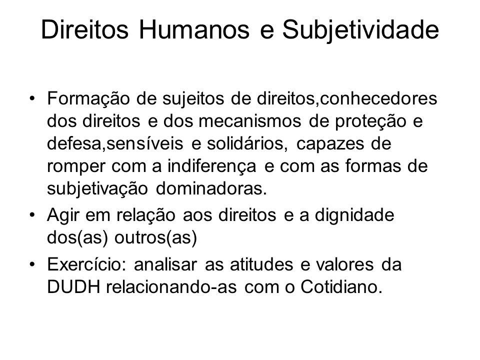 Direitos Humanos e Subjetividade Formação de sujeitos de direitos,conhecedores dos direitos e dos mecanismos de proteção e defesa,sensíveis e solidári