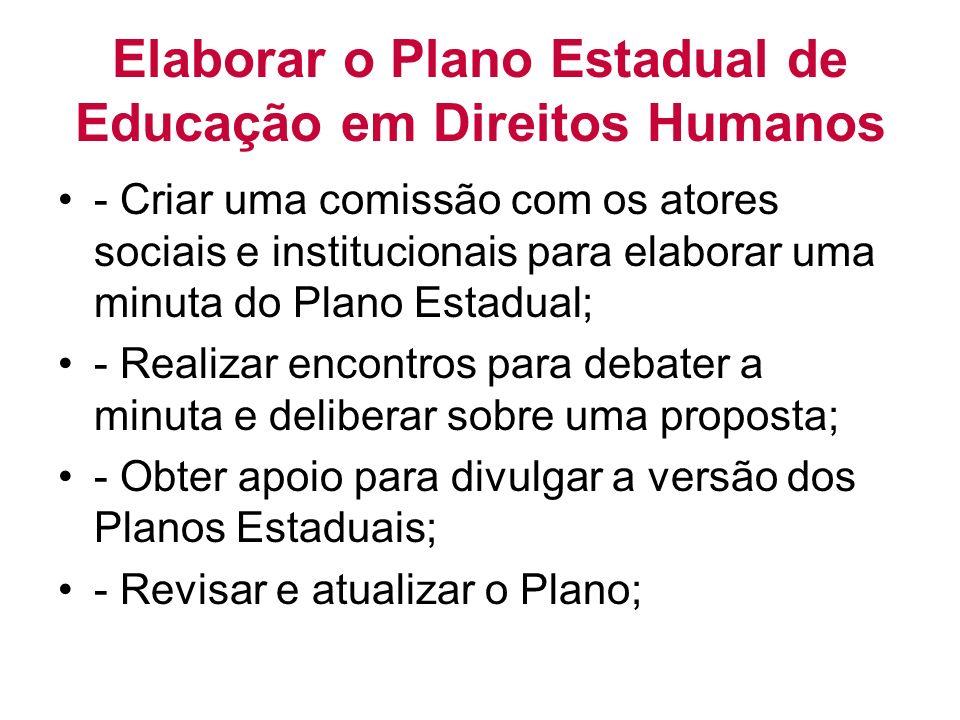 Elaborar o Plano Estadual de Educação em Direitos Humanos - Criar uma comissão com os atores sociais e institucionais para elaborar uma minuta do Plan