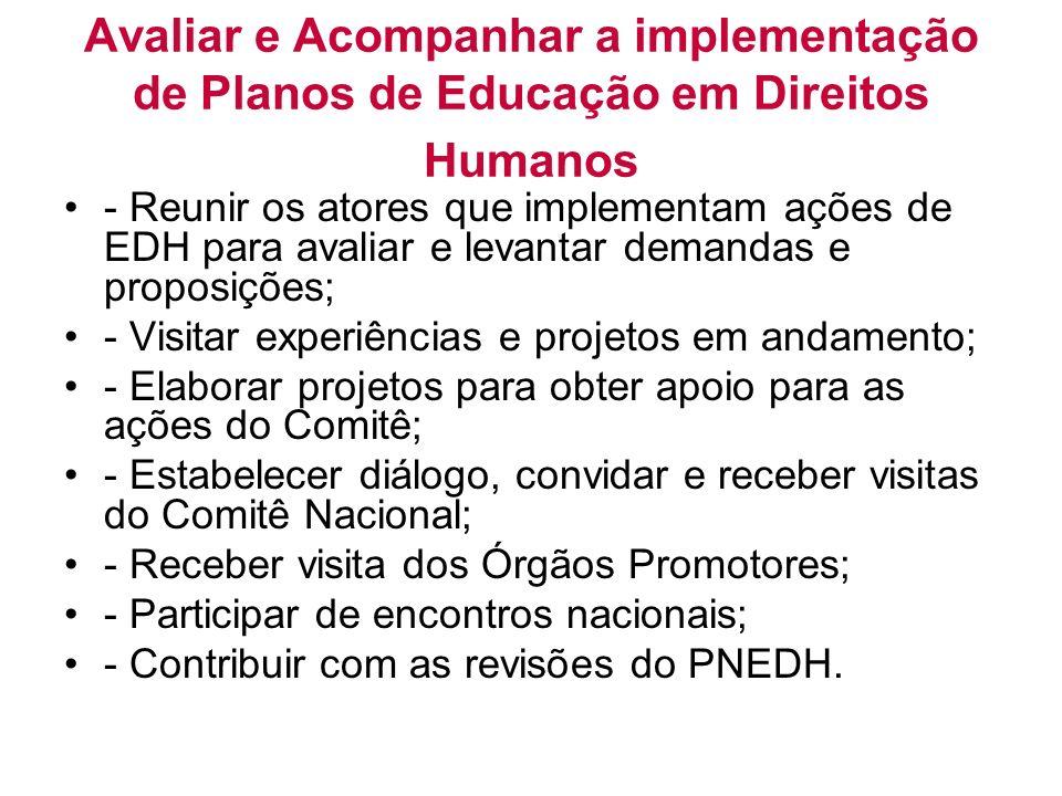 Avaliar e Acompanhar a implementação de Planos de Educação em Direitos Humanos - Reunir os atores que implementam ações de EDH para avaliar e levantar