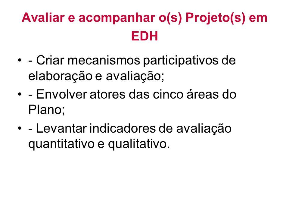 Avaliar e acompanhar o(s) Projeto(s) em EDH - Criar mecanismos participativos de elaboração e avaliação; - Envolver atores das cinco áreas do Plano; - Levantar indicadores de avaliação quantitativo e qualitativo.