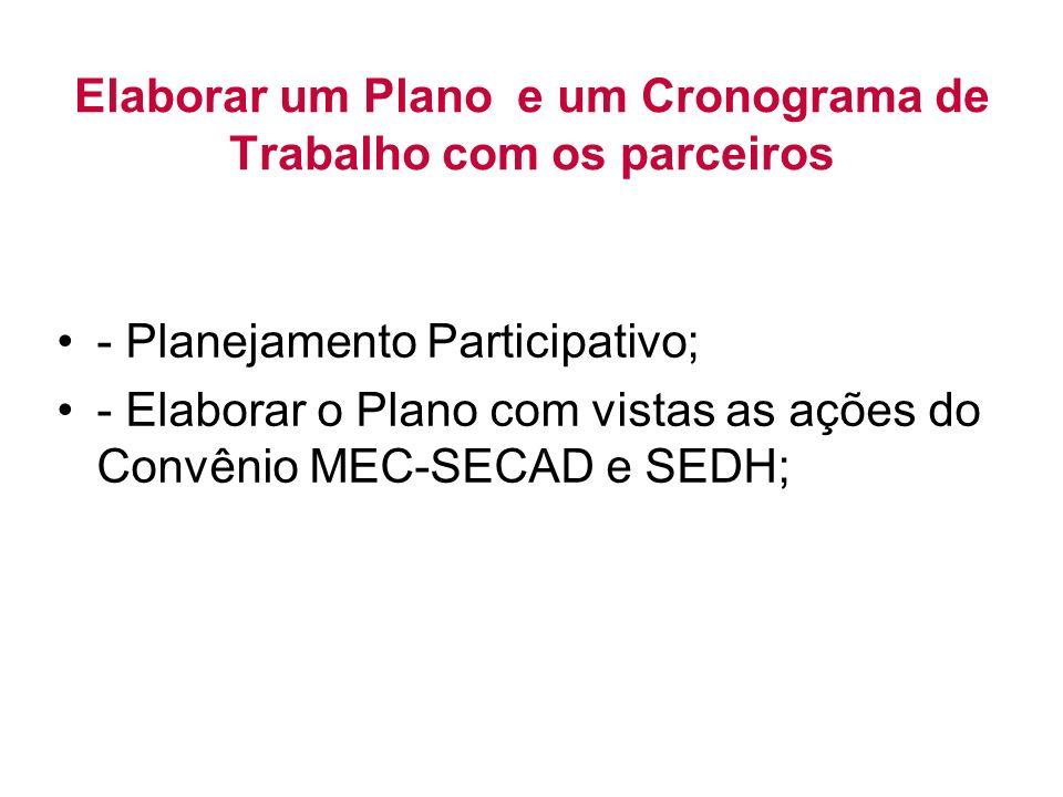 Elaborar um Plano e um Cronograma de Trabalho com os parceiros - Planejamento Participativo; - Elaborar o Plano com vistas as ações do Convênio MEC-SECAD e SEDH;