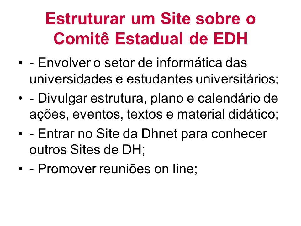 Estruturar um Site sobre o Comitê Estadual de EDH - Envolver o setor de informática das universidades e estudantes universitários; - Divulgar estrutura, plano e calendário de ações, eventos, textos e material didático; - Entrar no Site da Dhnet para conhecer outros Sites de DH; - Promover reuniões on line;