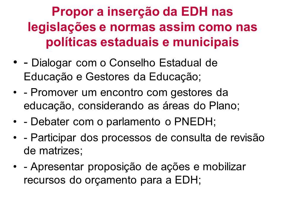 Propor a inserção da EDH nas legislações e normas assim como nas políticas estaduais e municipais - Dialogar com o Conselho Estadual de Educação e Ges