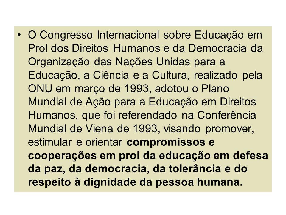 O Congresso Internacional sobre Educação em Prol dos Direitos Humanos e da Democracia da Organização das Nações Unidas para a Educação, a Ciência e a
