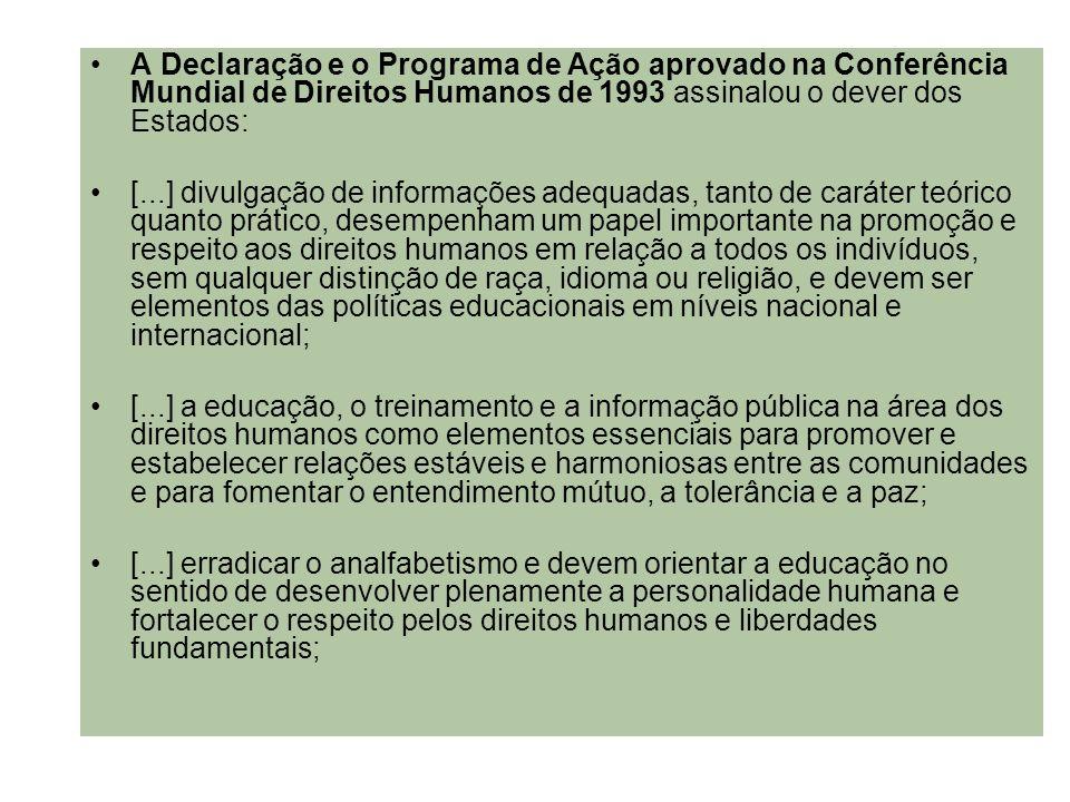 A Declaração e o Programa de Ação aprovado na Conferência Mundial de Direitos Humanos de 1993 assinalou o dever dos Estados: [...] divulgação de infor