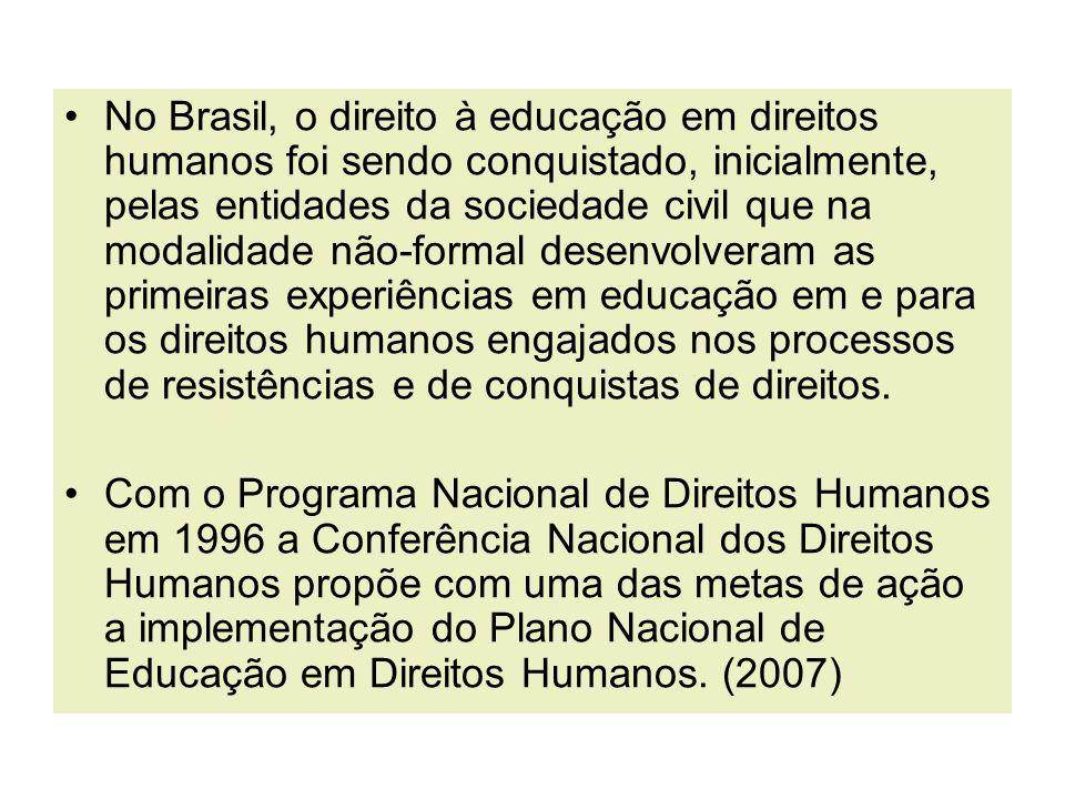 No Brasil, o direito à educação em direitos humanos foi sendo conquistado, inicialmente, pelas entidades da sociedade civil que na modalidade não-form
