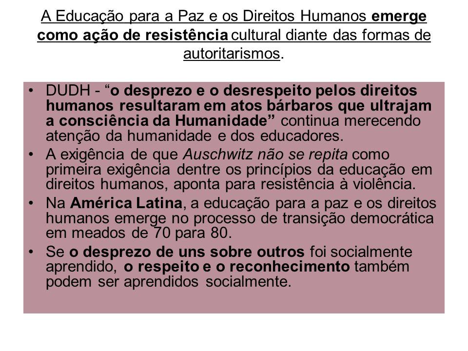 A Educação para a Paz e os Direitos Humanos emerge como ação de resistência cultural diante das formas de autoritarismos. DUDH - o desprezo e o desres