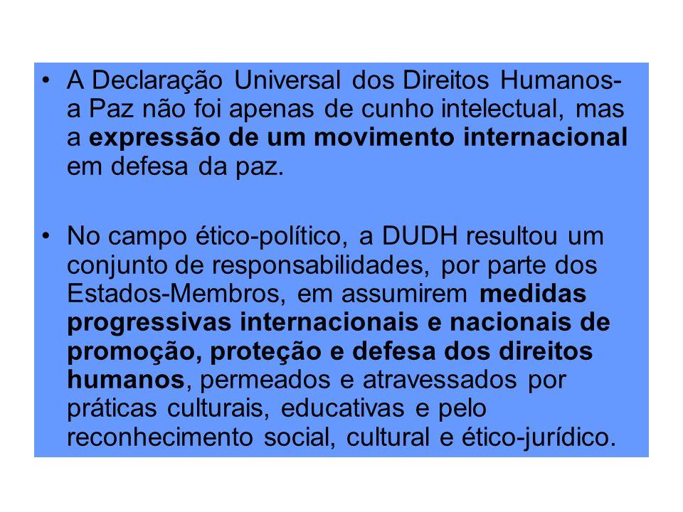 A Declaração Universal dos Direitos Humanos- a Paz não foi apenas de cunho intelectual, mas a expressão de um movimento internacional em defesa da paz