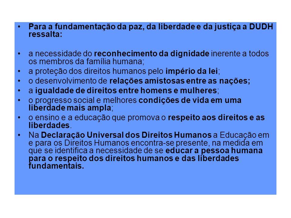 Para a fundamentação da paz, da liberdade e da justiça a DUDH ressalta: a necessidade do reconhecimento da dignidade inerente a todos os membros da fa