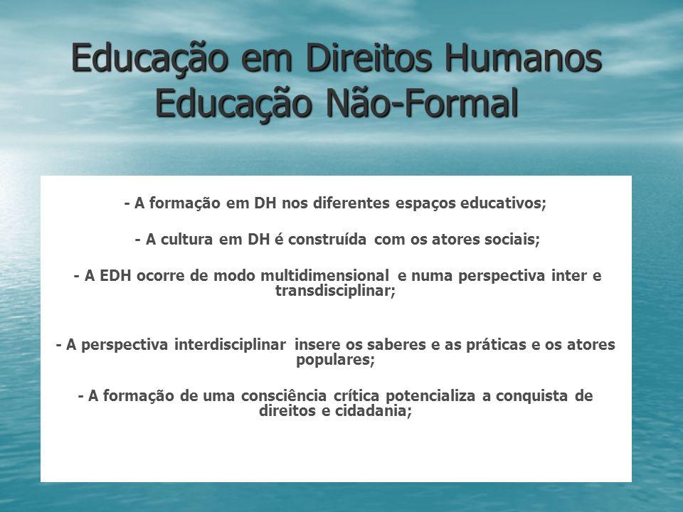 Educação em Direitos Humanos Educação Não-Formal - A formação em DH nos diferentes espaços educativos; - A cultura em DH é construída com os atores so