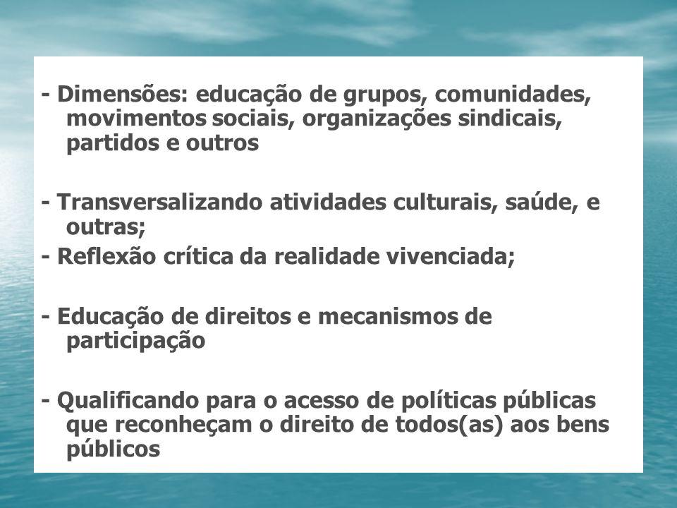 - Dimensões: educação de grupos, comunidades, movimentos sociais, organizações sindicais, partidos e outros - Transversalizando atividades culturais,