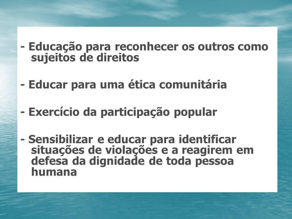 - Educação para reconhecer os outros como sujeitos de direitos - Educar para uma ética comunitária - Exercício da participação popular - Sensibilizar