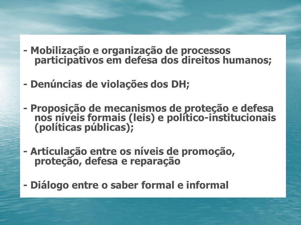 - Mobilização e organização de processos participativos em defesa dos direitos humanos; - Denúncias de violações dos DH; - Proposição de mecanismos de