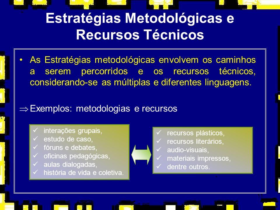 11 Estratégias Metodológicas e Recursos Técnicos As Estratégias metodológicas envolvem os caminhos a serem percorridos e os recursos técnicos, conside