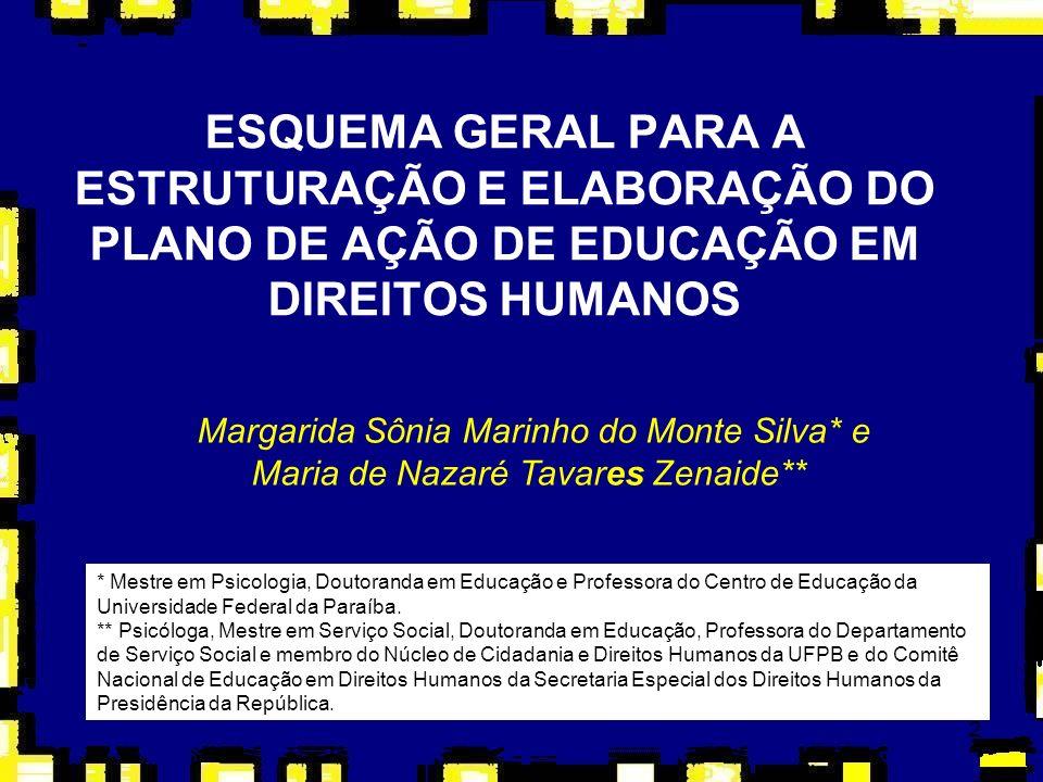 2 ESQUEMA GERAL PARA A ESTRUTURAÇÃO E ELABORAÇÃO DO PLANO DE AÇÃO DE EDUCAÇÃO EM DIREITOS HUMANOS Margarida Sônia Marinho do Monte Silva* e Maria de N