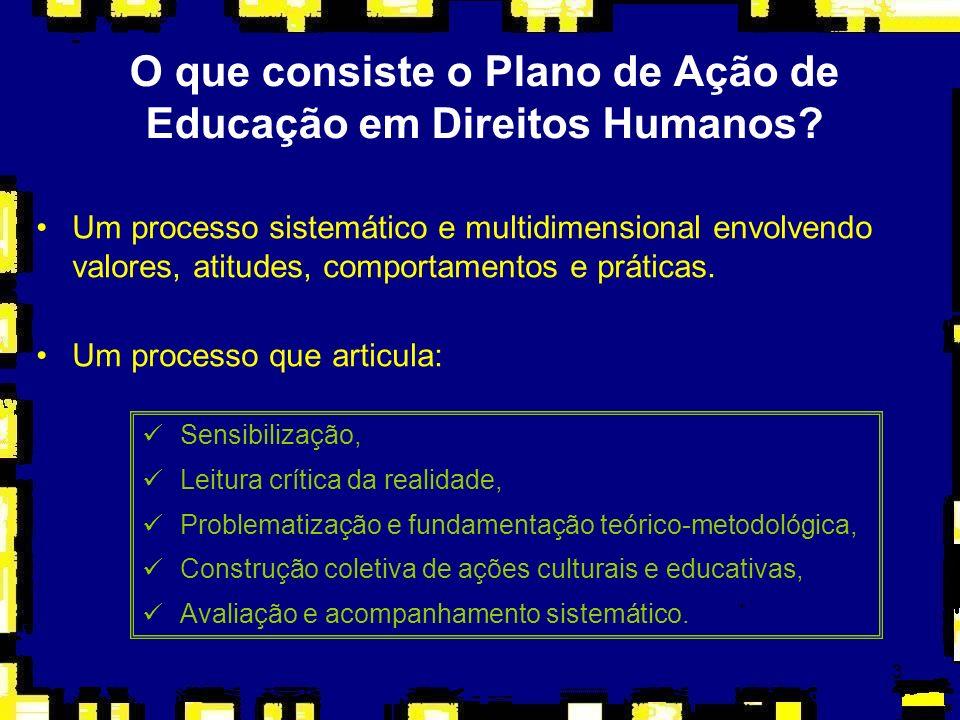 3 O que consiste o Plano de Ação de Educação em Direitos Humanos? Um processo sistemático e multidimensional envolvendo valores, atitudes, comportamen