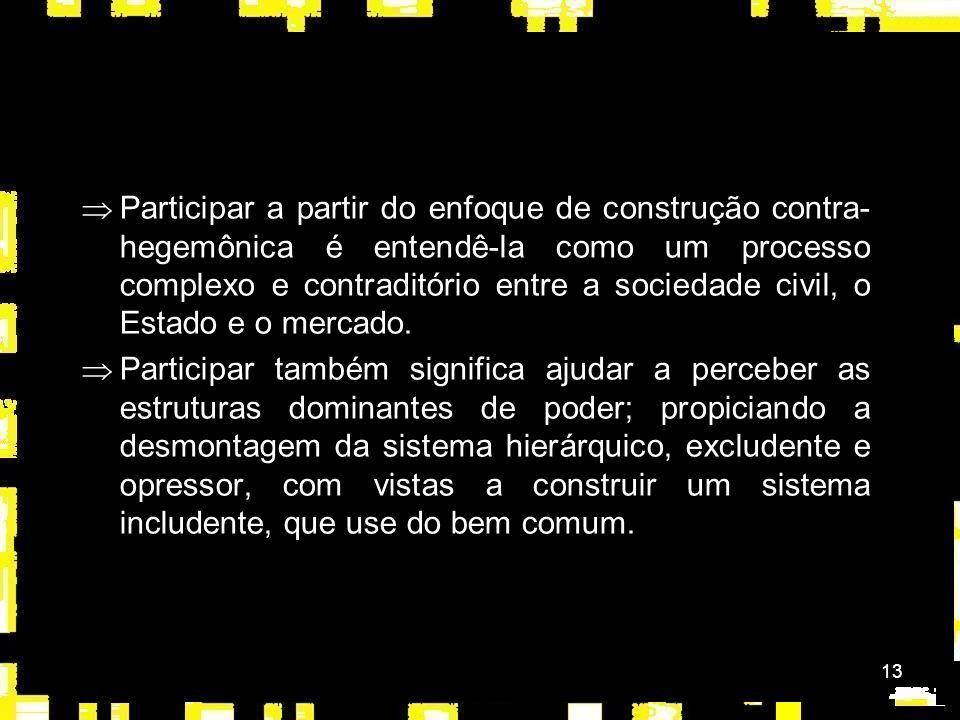 13 ÞParticipar a partir do enfoque de construção contra- hegemônica é entendê-la como um processo complexo e contraditório entre a sociedade civil, o