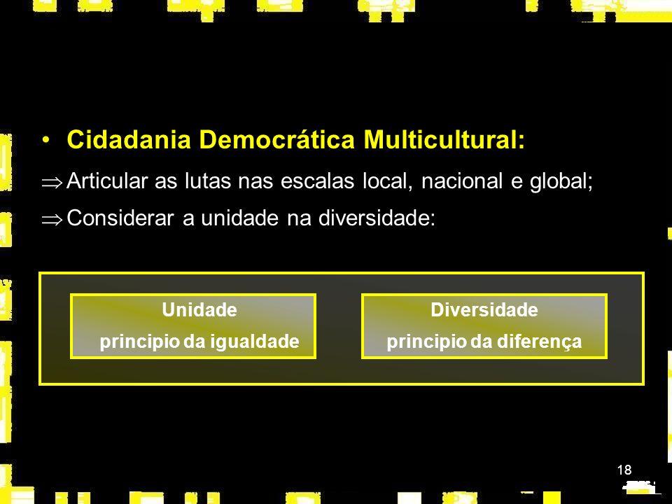 18 Cidadania Democrática Multicultural: ÞArticular as lutas nas escalas local, nacional e global; ÞConsiderar a unidade na diversidade: Diversidade pr