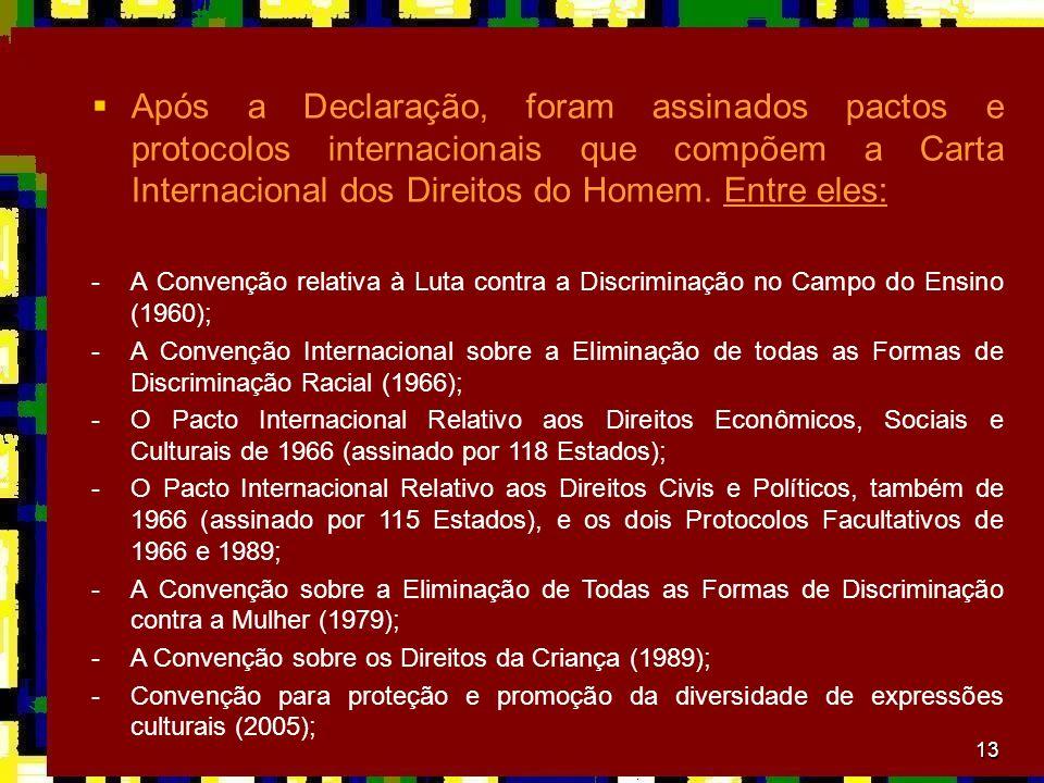 13 Após a Declaração, foram assinados pactos e protocolos internacionais que compõem a Carta Internacional dos Direitos do Homem. Entre eles: -A Conve