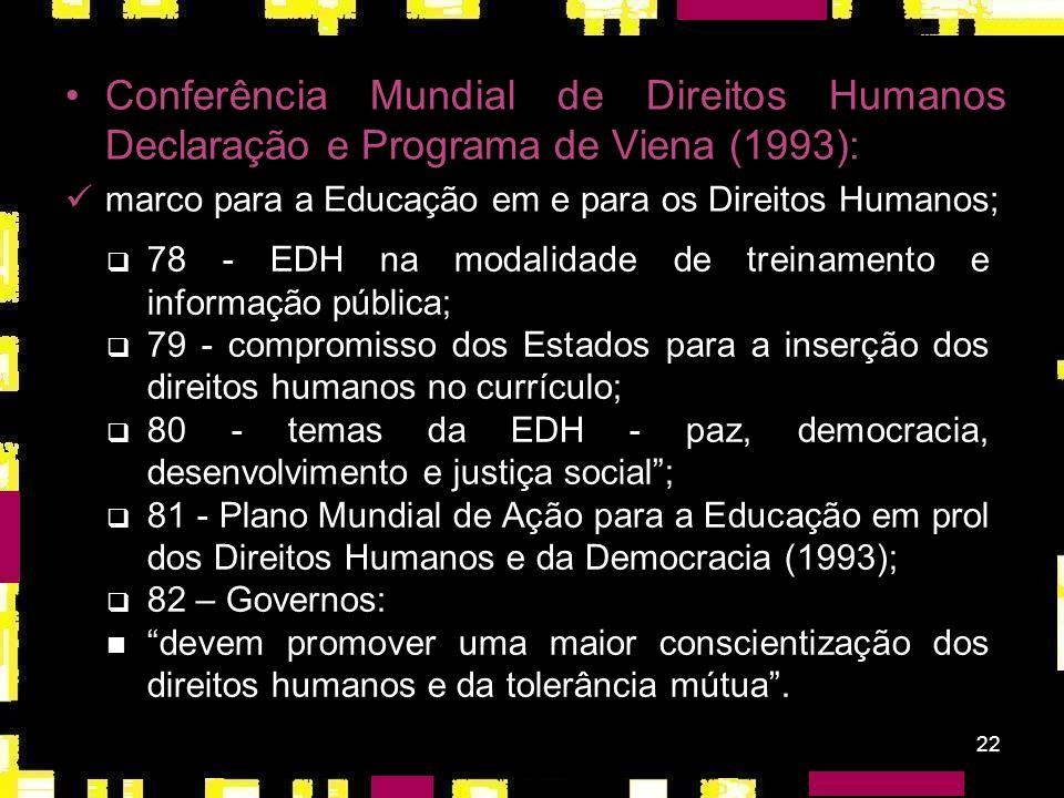 21 Declaração sobre os Direitos dos Povos à Paz (1984): preocupação com a segurança/paz internacional; ampliação/ realização/ respeito aos direitos e