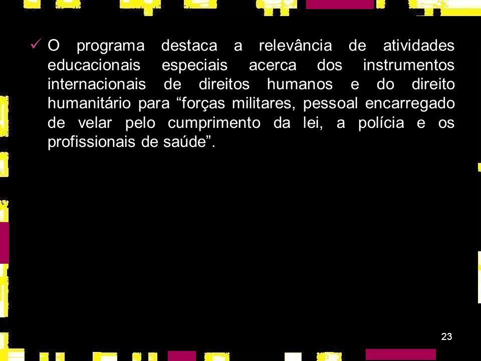 22 Conferência Mundial de Direitos Humanos Declaração e Programa de Viena (1993): marco para a Educação em e para os Direitos Humanos; 78 - EDH na mod