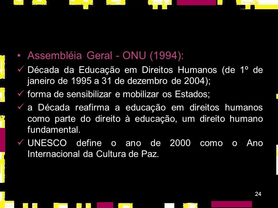 23 O programa destaca a relevância de atividades educacionais especiais acerca dos instrumentos internacionais de direitos humanos e do direito humani