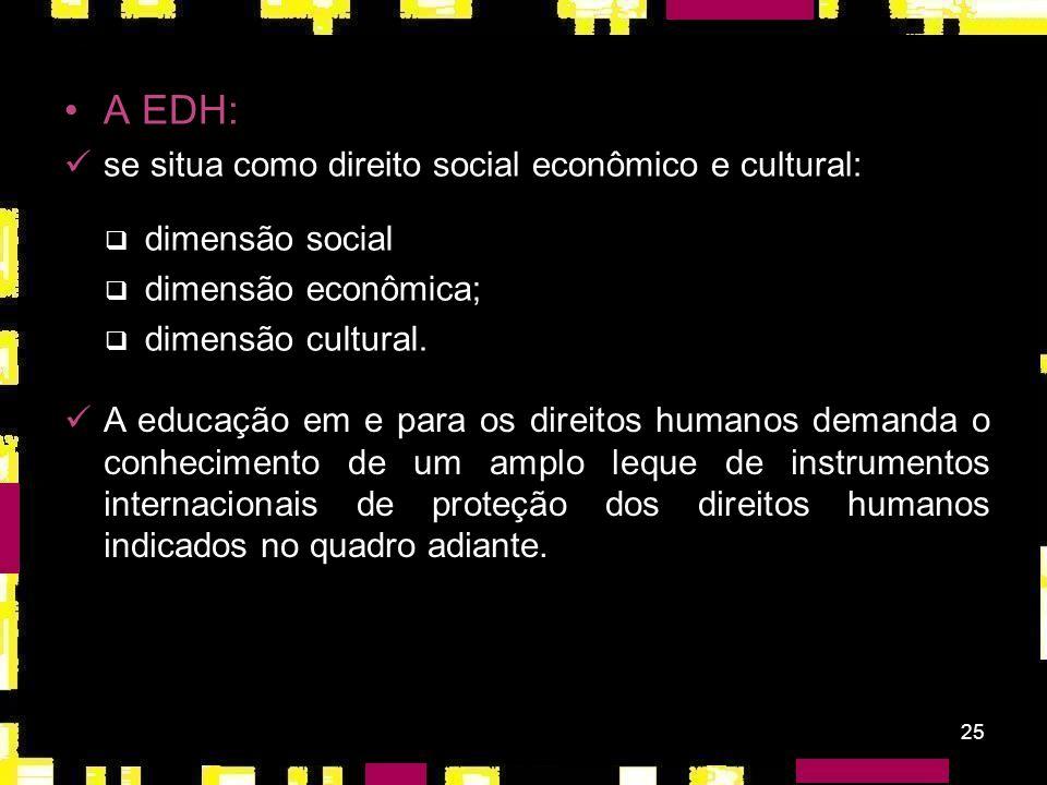 24 Assembléia Geral - ONU (1994): Década da Educação em Direitos Humanos (de 1º de janeiro de 1995 a 31 de dezembro de 2004); forma de sensibilizar e