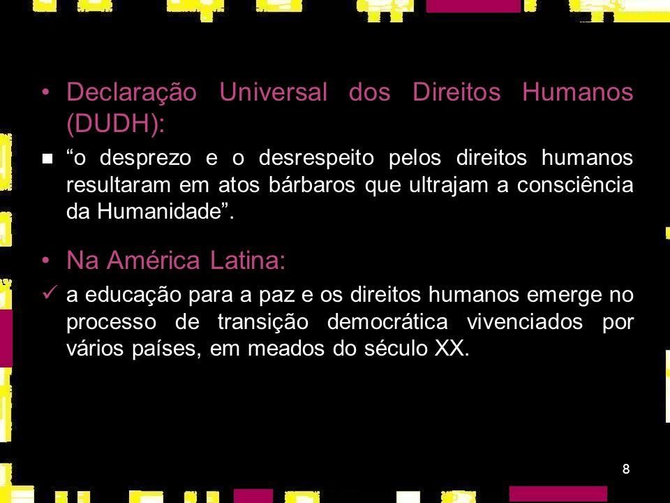 8 Declaração Universal dos Direitos Humanos (DUDH): o desprezo e o desrespeito pelos direitos humanos resultaram em atos bárbaros que ultrajam a consciência da Humanidade.