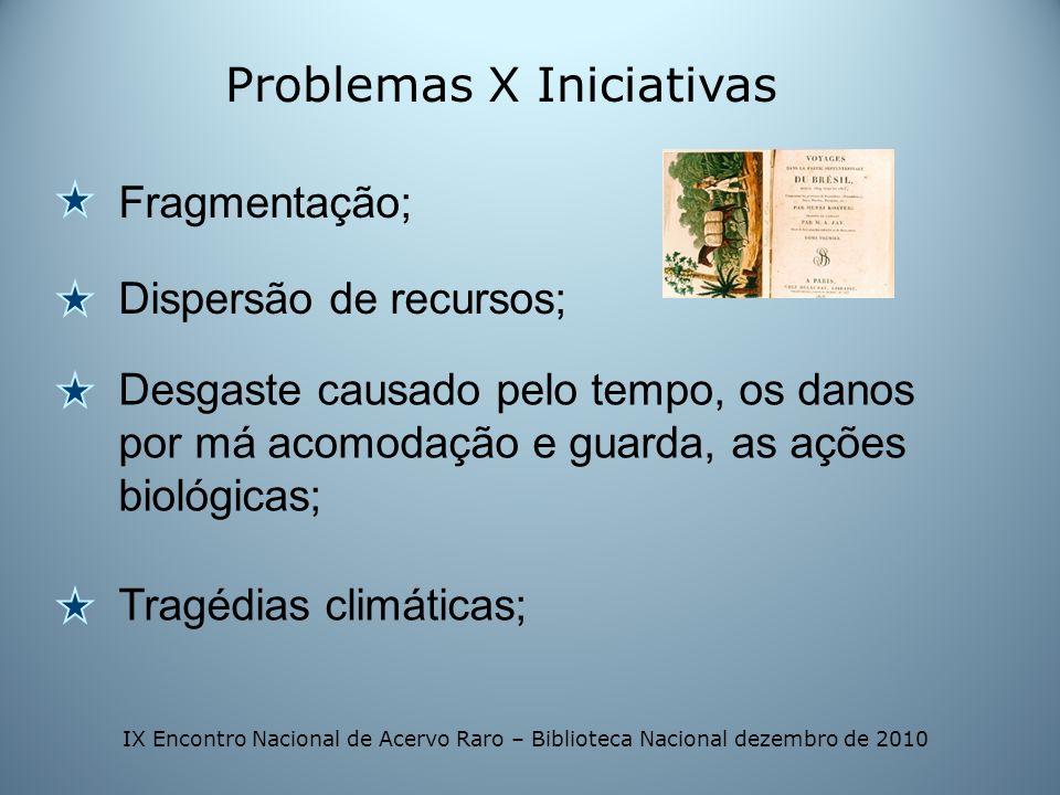 Problemas X Iniciativas Fragmentação; Dispersão de recursos; Desgaste causado pelo tempo, os danos por má acomodação e guarda, as ações biológicas; Tr