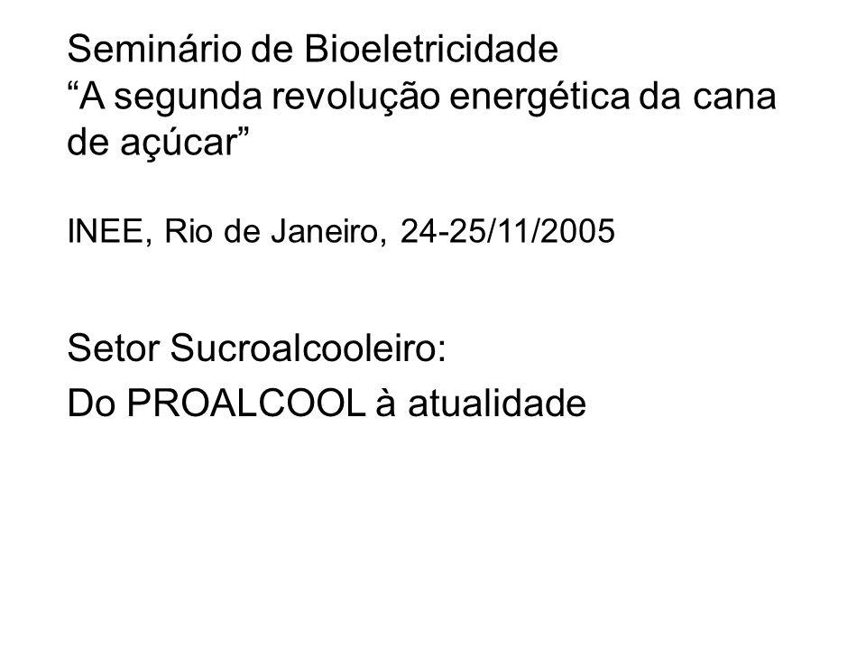 Seminário de Bioeletricidade A segunda revolução energética da cana de açúcar INEE, Rio de Janeiro, 24-25/11/2005 Setor Sucroalcooleiro: Do PROALCOOL