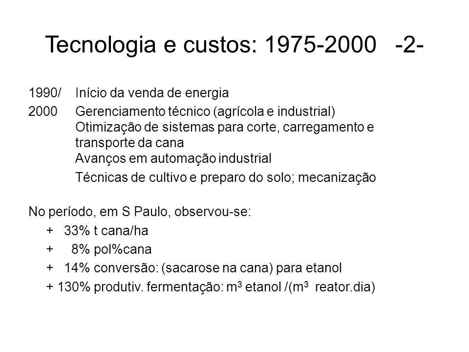 Tecnologia e custos: 1975-2000 -2- 1990/Início da venda de energia 2000Gerenciamento técnico (agrícola e industrial) Otimização de sistemas para corte