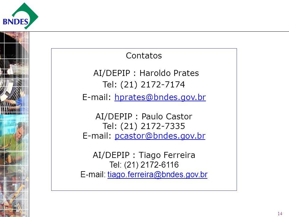 14 Contatos AI/DEPIP : Haroldo Prates Tel: (21) 2172-7174 E-mail: hprates@bndes.gov.brhprates@bndes.gov.br AI/DEPIP : Paulo Castor Tel: (21) 2172-7335