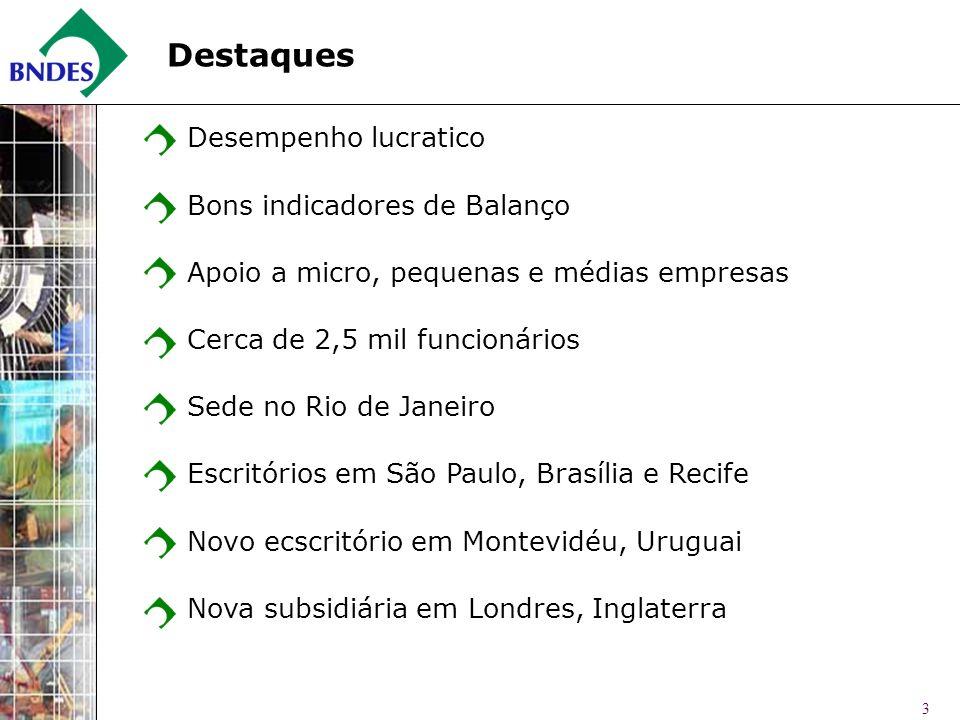 3 Destaques Desempenho lucratico Bons indicadores de Balanço Apoio a micro, pequenas e médias empresas Cerca de 2,5 mil funcionários Sede no Rio de Ja