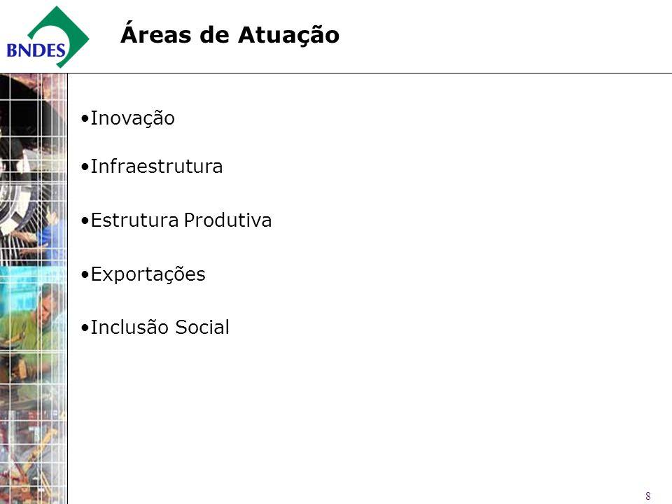 8 Inovação Infraestrutura Estrutura Produtiva Exportações Inclusão Social Áreas de Atuação