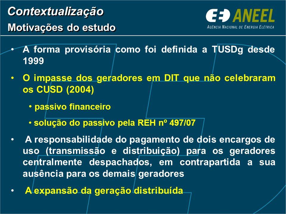 A forma provisória como foi definida a TUSDg desde 1999 O impasse dos geradores em DIT que não celebraram os CUSD (2004) passivo financeiro solução do