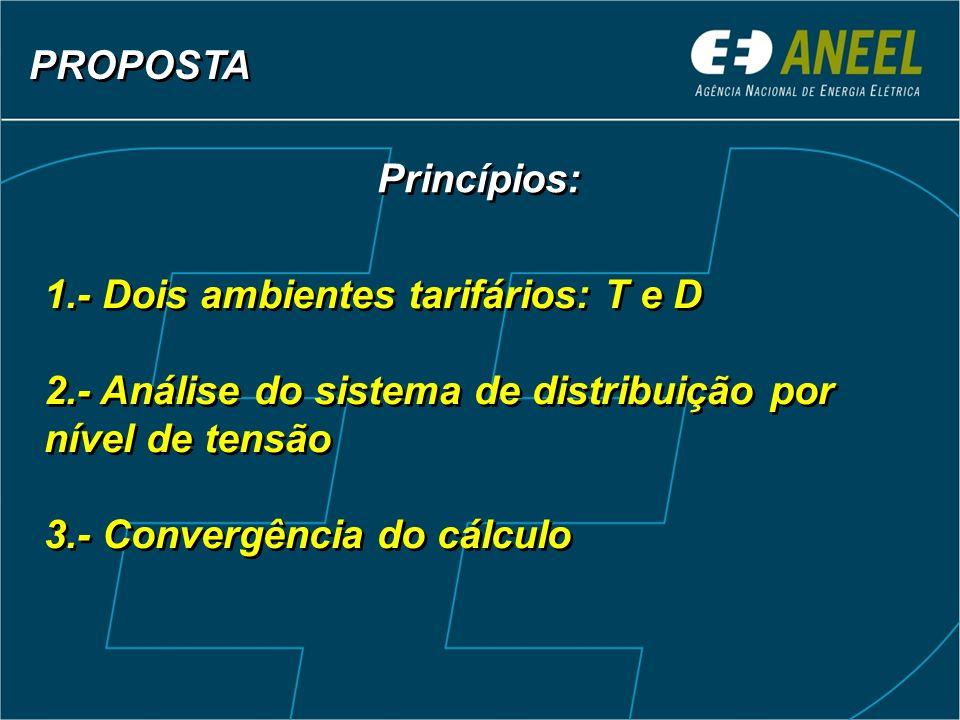 1.- Dois ambientes tarifários: T e D 2.- Análise do sistema de distribuição por nível de tensão 3.- Convergência do cálculo 1.- Dois ambientes tarifár