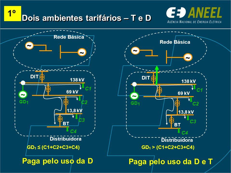 ~ Rede Básica Distribuidora DIT 138 kV 69 kV C1 ~ 13,8 kV BT C2 C3 C4 ~ GD 1 GD 1 (C1+C2+C3+C4)GD 1 > (C1+C2+C3+C4) Distribuidora DIT 138 kV 69 kV C1