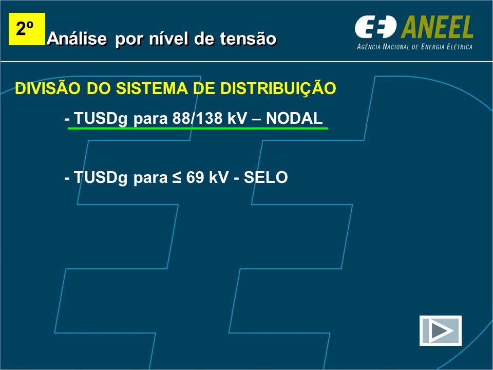 DIVISÃO DO SISTEMA DE DISTRIBUIÇÃO - TUSDg para 88/138 kV – NODAL - TUSDg para 69 kV - SELO Análise por nível de tensão 2º