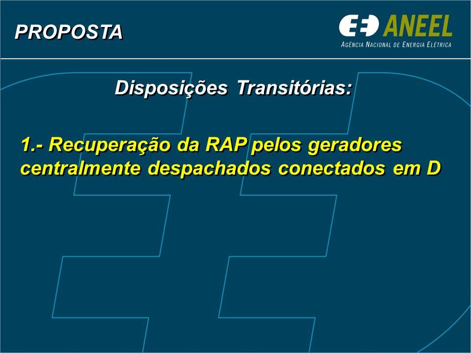 1.- Recuperação da RAP pelos geradores centralmente despachados conectados em D Disposições Transitórias: PROPOSTA