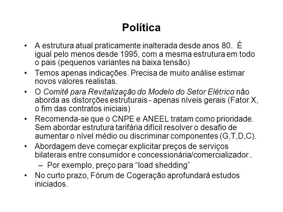 Política A estrutura atual praticamente inalterada desde anos 80. É igual pelo menos desde 1995, com a mesma estrutura em todo o pais (pequenos varian