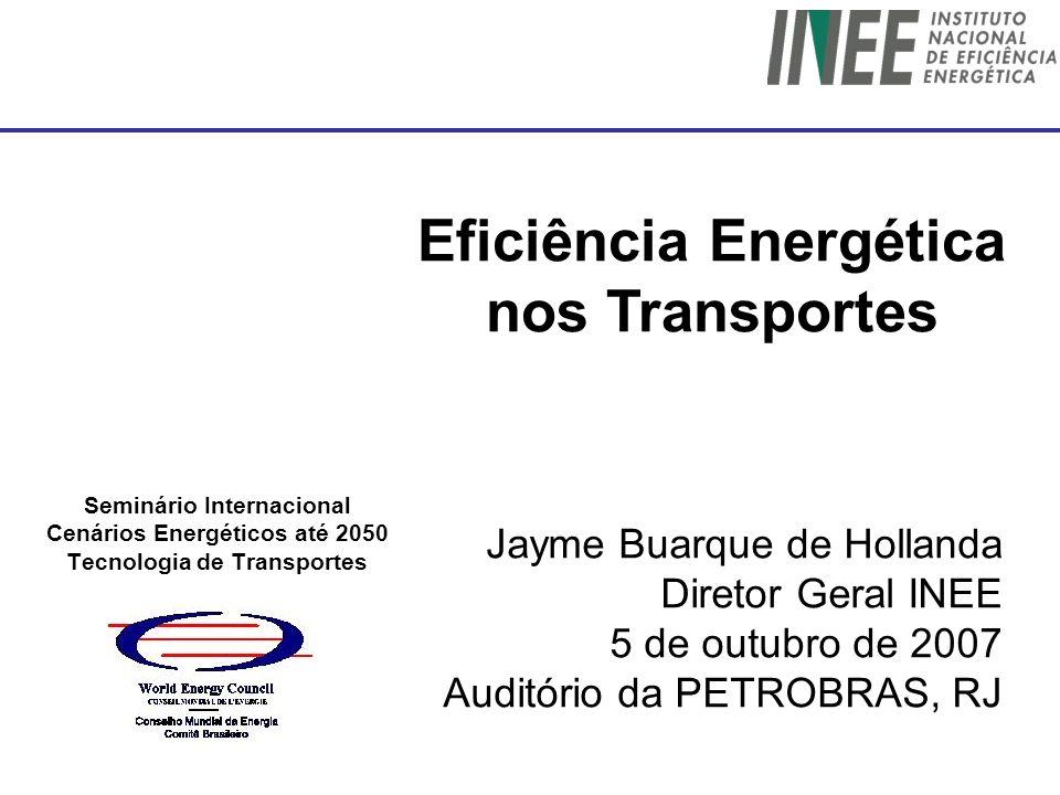 Seminário Internacional Cenários Energéticos até 2050 Tecnologia de Transportes Jayme Buarque de Hollanda Diretor Geral INEE 5 de outubro de 2007 Audi