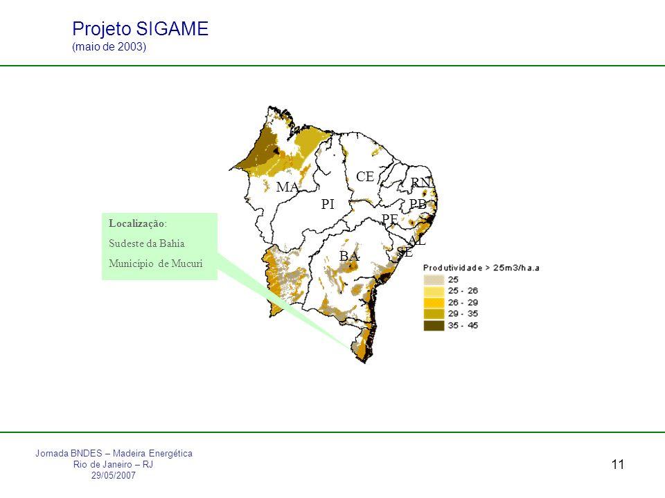 11 MA PI CE RN PB PE AL SE BA Localização: Sudeste da Bahia Município de Mucuri Projeto SIGAME (maio de 2003) Jornada BNDES – Madeira Energética Rio de Janeiro – RJ 29/05/2007