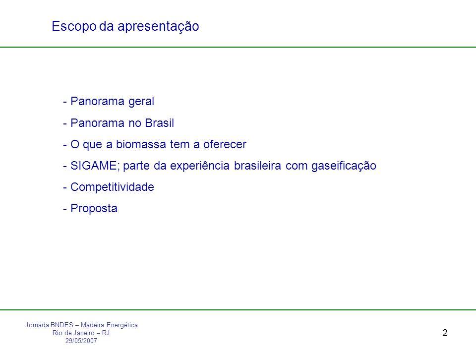 2 Jornada BNDES – Madeira Energética Rio de Janeiro – RJ 29/05/2007 - Panorama geral - Panorama no Brasil - O que a biomassa tem a oferecer - SIGAME; parte da experiência brasileira com gaseificação - Competitividade - Proposta Escopo da apresentação